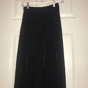 Mesh maxi skirt with underskirt and slit